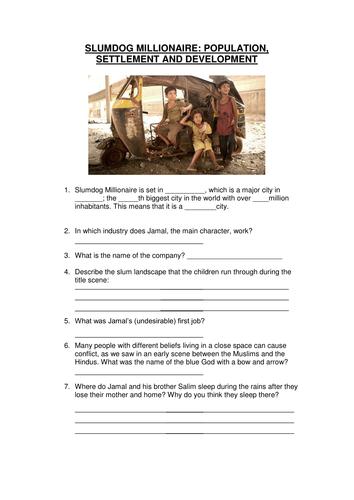 Differentiated Slumdog Worksheets