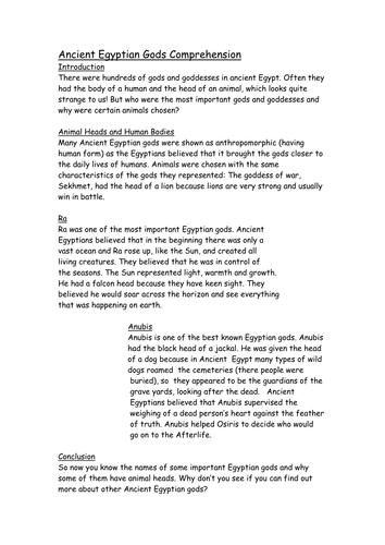 Egyptian God Reading Comprehensionsmartboard By Ellieteacher