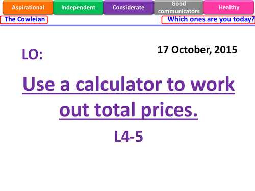 KS3 Using a calculator - Money problems