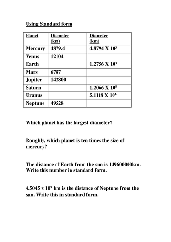 Planet Standard Form By Shaznmike Teaching Resources Tes