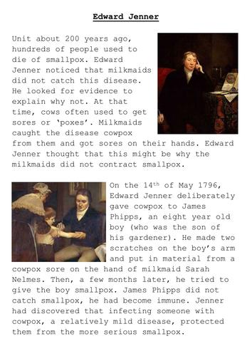 Edward Jenner Louis Pasteur Fact Sheets