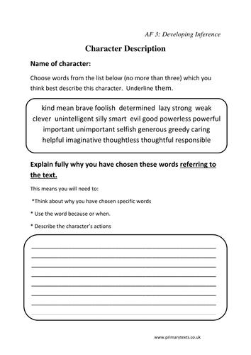 Reading Tasks linked to Assessment Focuses