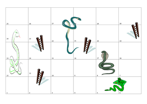 Blooms snakes and ladders blank template by uk teaching for Printable snakes and ladders template