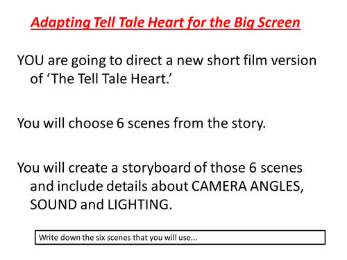 Tell Tale Heart; Storyboard for Film